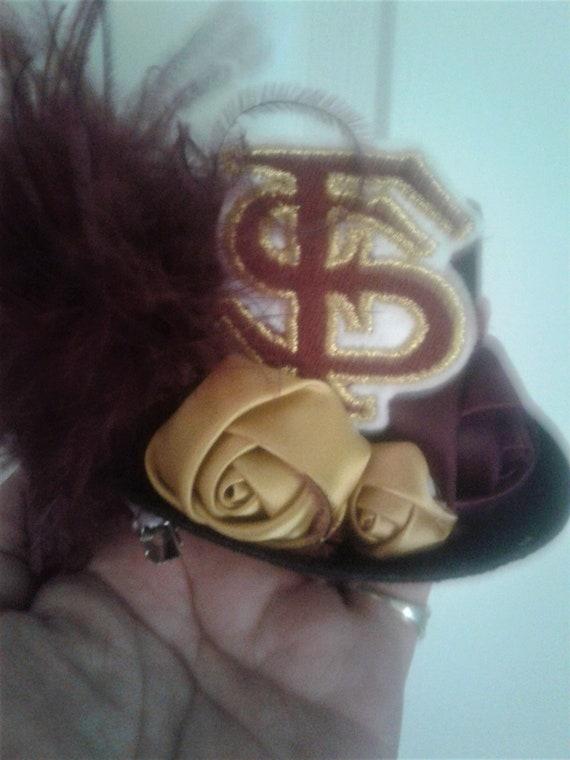 Florida State Seminoles Fascinator,  Handmade, Mini Top Hat,Spirit Hat, Football Spirit ,Seminole Costume Hat , School Spirt