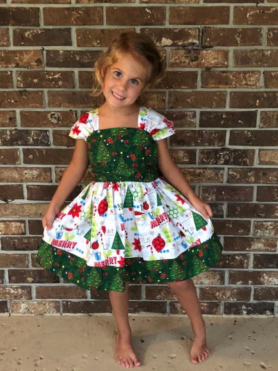 Toddler Christmas Outfit Girl.Girls Christmas Dress Christmas Outfit Girls Holiday Dress Toddler Christmas Dress Holiday Party Dress Cap Sleeve Dress
