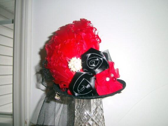 Mini Top Hat, Fascinator, Handmade, Birthday Hat, Alice in Wonderland Tea Party, Costume, Prom Hairpiece, Photo Prop, Wedding Hairpiece