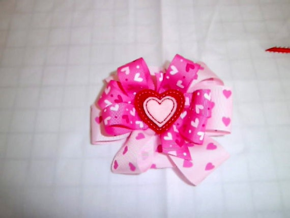 Valentine's Large Bow,  Girls Bow, Handmade Bow, Heart Bow, Toddler Bow, Boutique Bow,Tween Bow