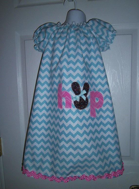 Girls Easter Dress, Handmade , Bunny Applique, Baby dress,Toddler Dress, Easter Bunny
