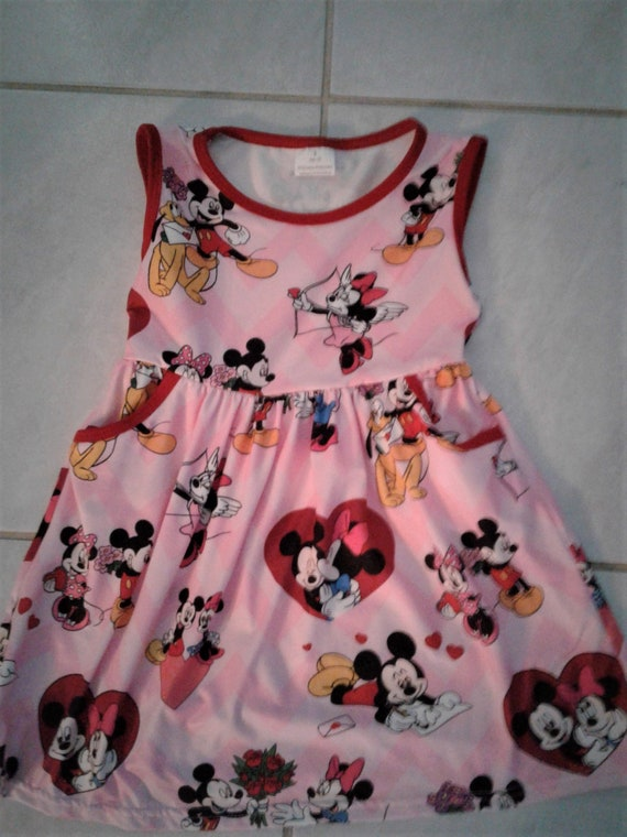 Be-Mine Disney Valentines Girls Dress, Mickey Minnie  Dress,Wrinkle free, Toddler Valentine dress, Baby Valentines outfit, Ready to ship