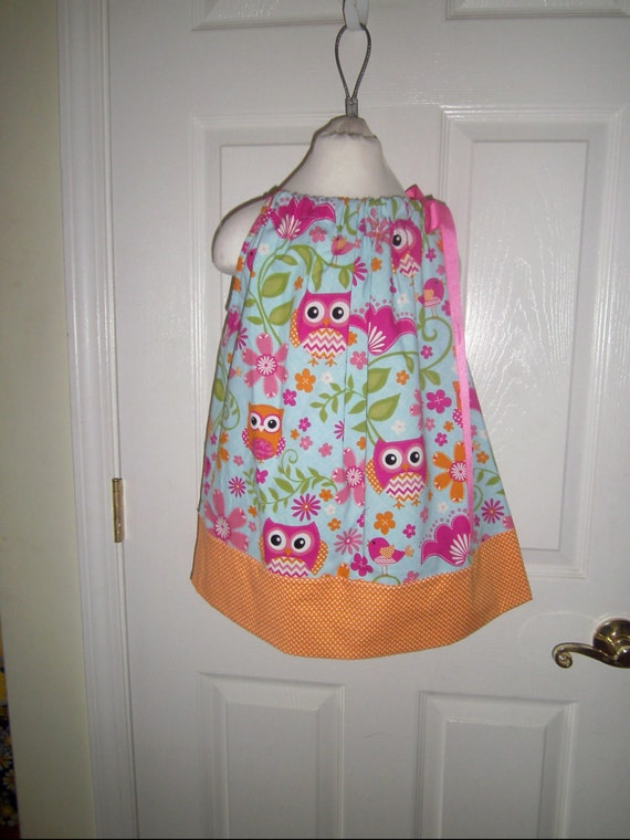 Owl Dress, Girls Back to School Dress, Girls Party Dress, Infant Dress, Toddler Dress, Summer Sundress,