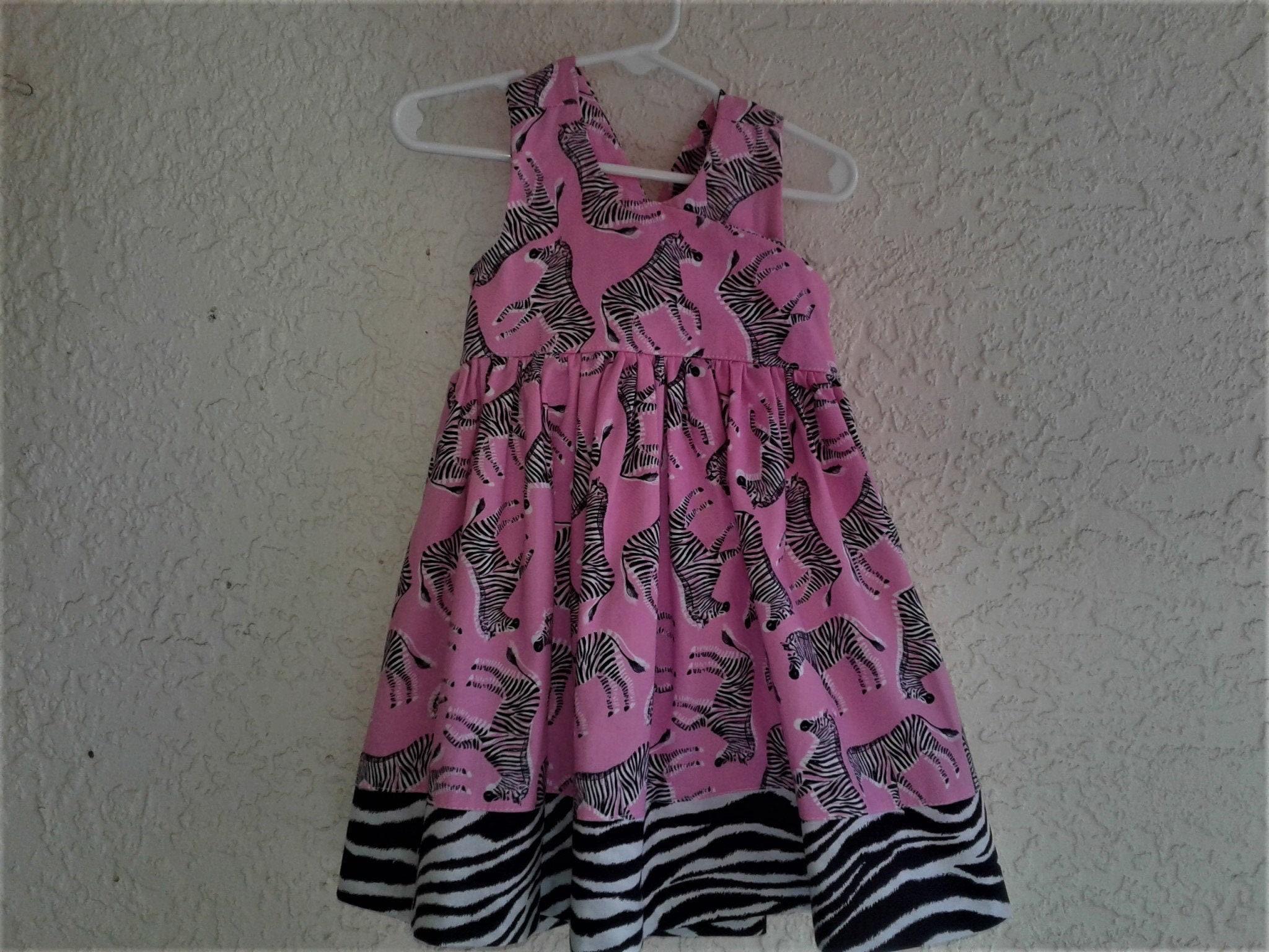 Zebra Print Dress Animal Print Free Shipping Pink Zebra Toddler dress