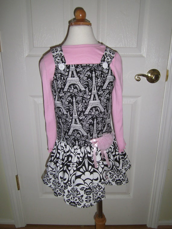 Girls Jumper Dress ,Handmade, Drop Waist Style, Eiffel Tower Fabric, Boutique Style, Birthday Dress, Special Occasion Dress, Preteen,