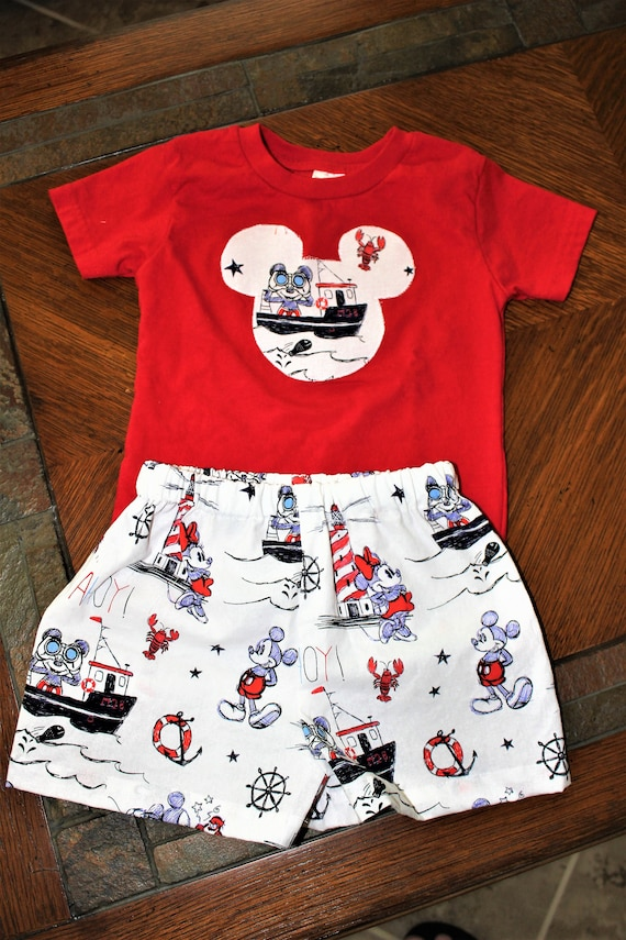 Disney Cruise Boys Shorts sets, Minnie Mickey Silhouette Head t-shirt, Disney Parks Vacation, Baby Outfit, Toddler Outfit, Free Shipping