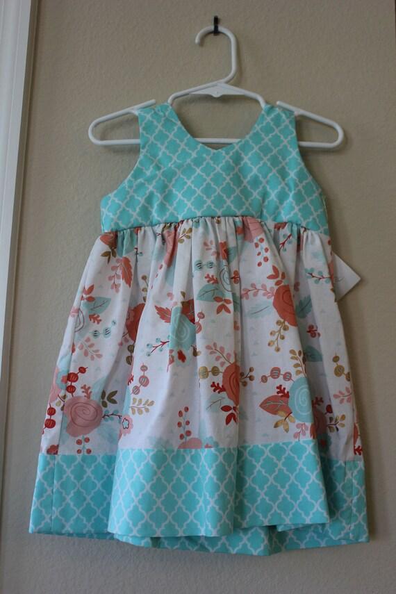 Floral Girls Dress, Bow Dress, Infant Dress, Toddler dress, Birthday Party Dress, Sundress, Summer Twirling Dress, Tween Dress, Blue Dress