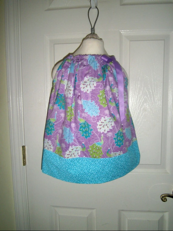 Girls Dress,Sale, Birds-Peacocks, Purple, Teals, Summer Dress, Party Dress, Summer Cover-up, Pillowcase Dress, Infants,Toddler, Tweens