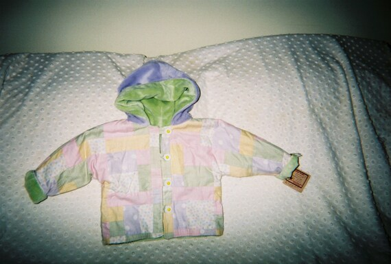 Patchwork Jacket,Handmade, Minky Jacket, Baby Jacket,Toddler Jacket,Hooded Jacket,Spring Jacket,Fall Jacket,Baby Gift, Pastel Gingham Jacket