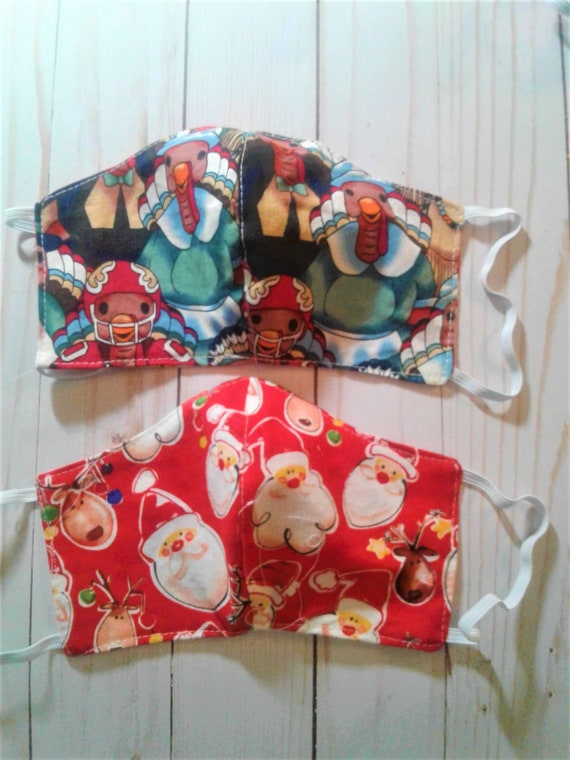 Holiday Reversible mask, Thanksgiving, Christmas, Reusable, Washable, Adult,Kids sizes