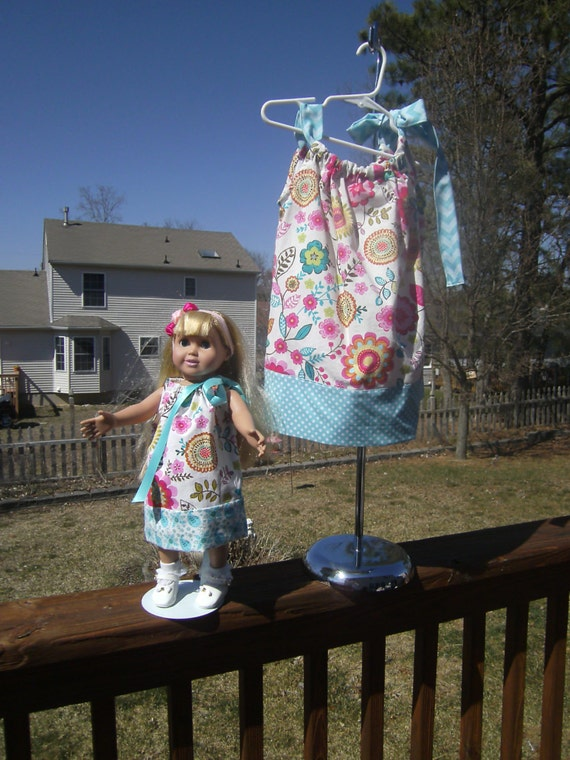 Dolly and Me, Handmade ,Dresses, Pillowcase Style dress, American Girl, Easter Gift, Birthday gift, Daughter and Doll,
