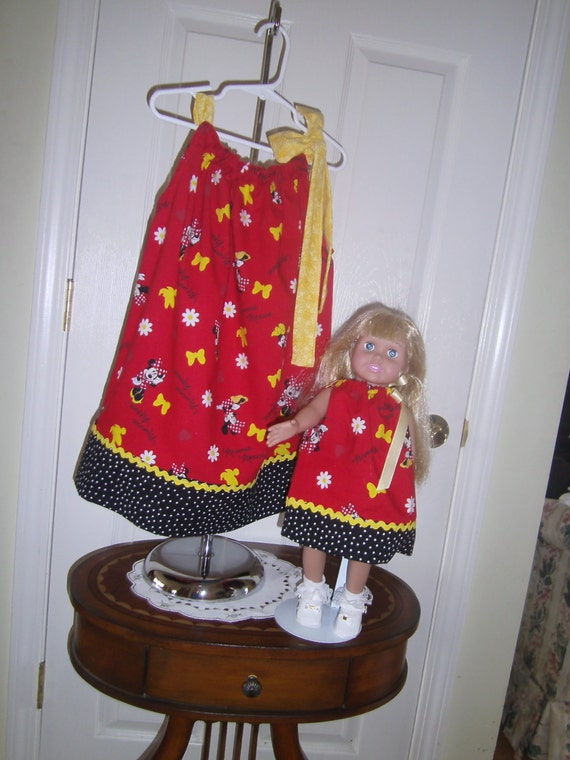 Girls Disney Minnie Mouse Dress, Dolly and Me, Minnie Print, Red, Black, Yellow