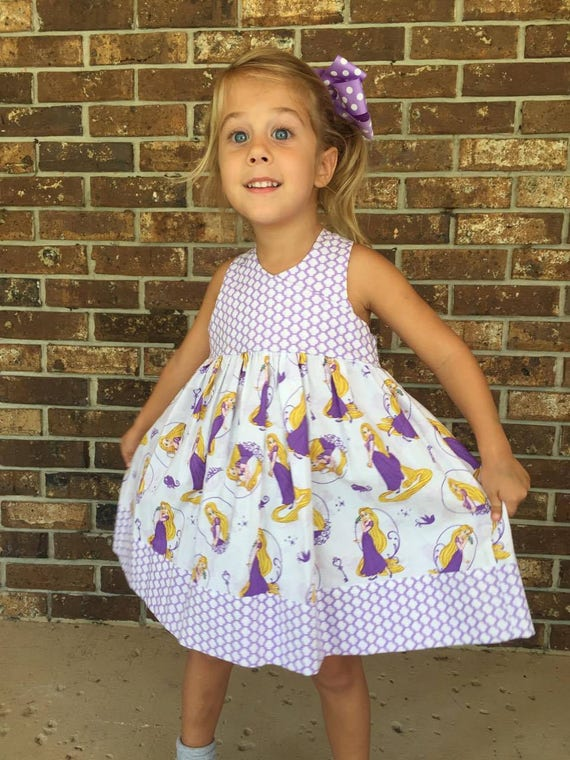 Rapunzel Dress,Girls Party Dress, Disney Parks, Disney Vacation,Baby Dress, Toddler Dress , Princess Birthday  Free Shipping