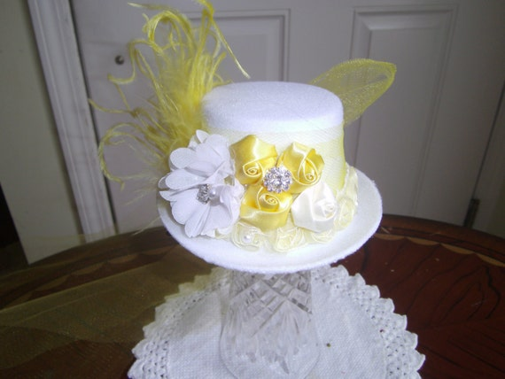 Girls Mini Top Hat, Handcrafted, Fascinator, Birthday Hat, Tea Party, Prom Headpeice,Bridesmaid headpeice, photo prop