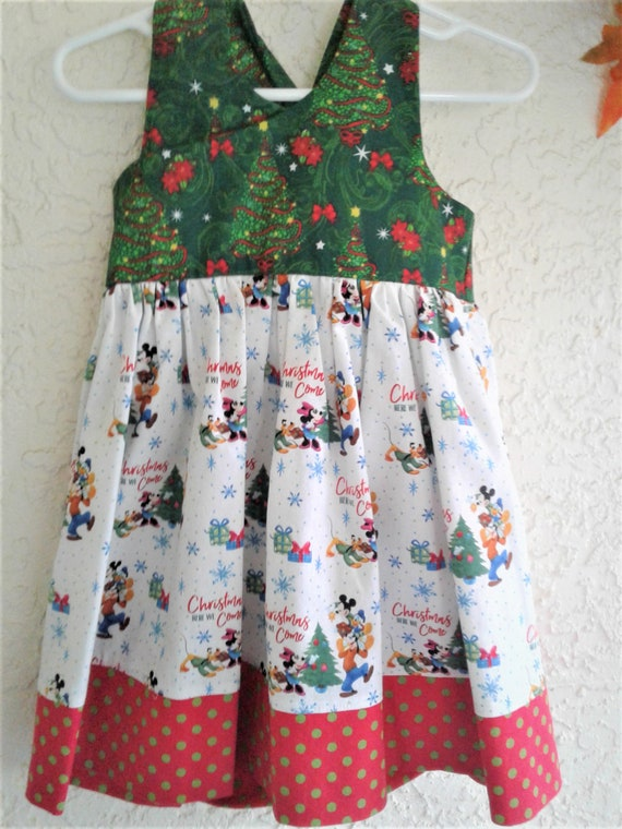 Disney Christmas Dress, Mickey Very Merry Christmas, Baby Dress, Toddler Dress, Santa Photo,