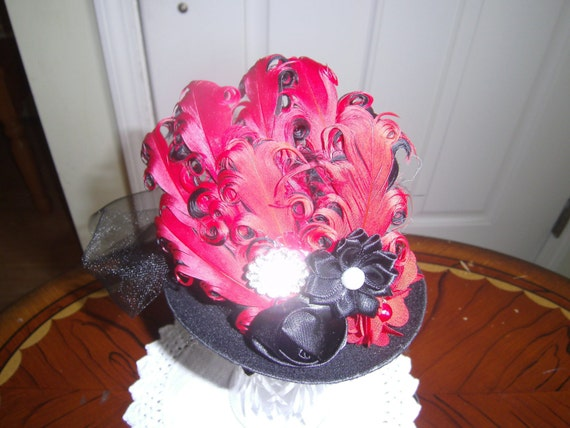 Girls Mini Top Hat, Fascinator,Handcrafted, Red Black Hat,Birthday Hat, Tea Party, Bridesmaid Hat,Photo Prop
