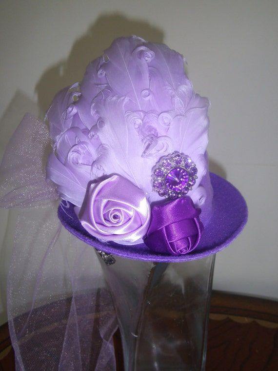 Mini Top Hat, Fascinator, Handmade, Birthday Hat, Easter Hat, Alice in Wonderland, Tea Party, Photo Prop, Costume, Prom Headpiece