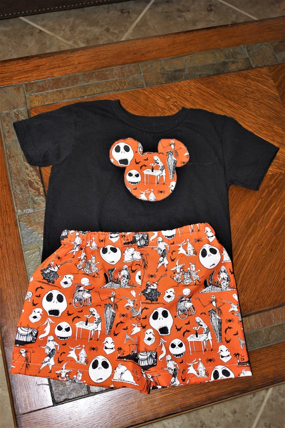 Nightmare Before Christmas Outfit, Unisex Shorts set, Disney Outfit, Infants Outfit, Toddler Outfit, Disney Vacation, Halloween outfit