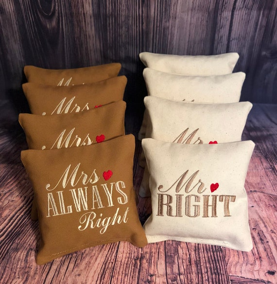 Awe Inspiring Corn Game Bags Corn Hole Baggo Bean Bags Toss Embroidered Monogrammed Custom Bags Wedding Set Of 8 Mr Right Mrs Always Right Pabps2019 Chair Design Images Pabps2019Com