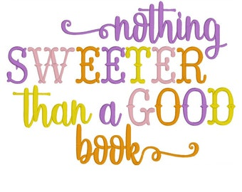 Machine Embroidery, Embroidery Design, Nothing sweeter than a good book, Reading Pillow, Pillow Pocket Design, INSTANT DOWNLOAD