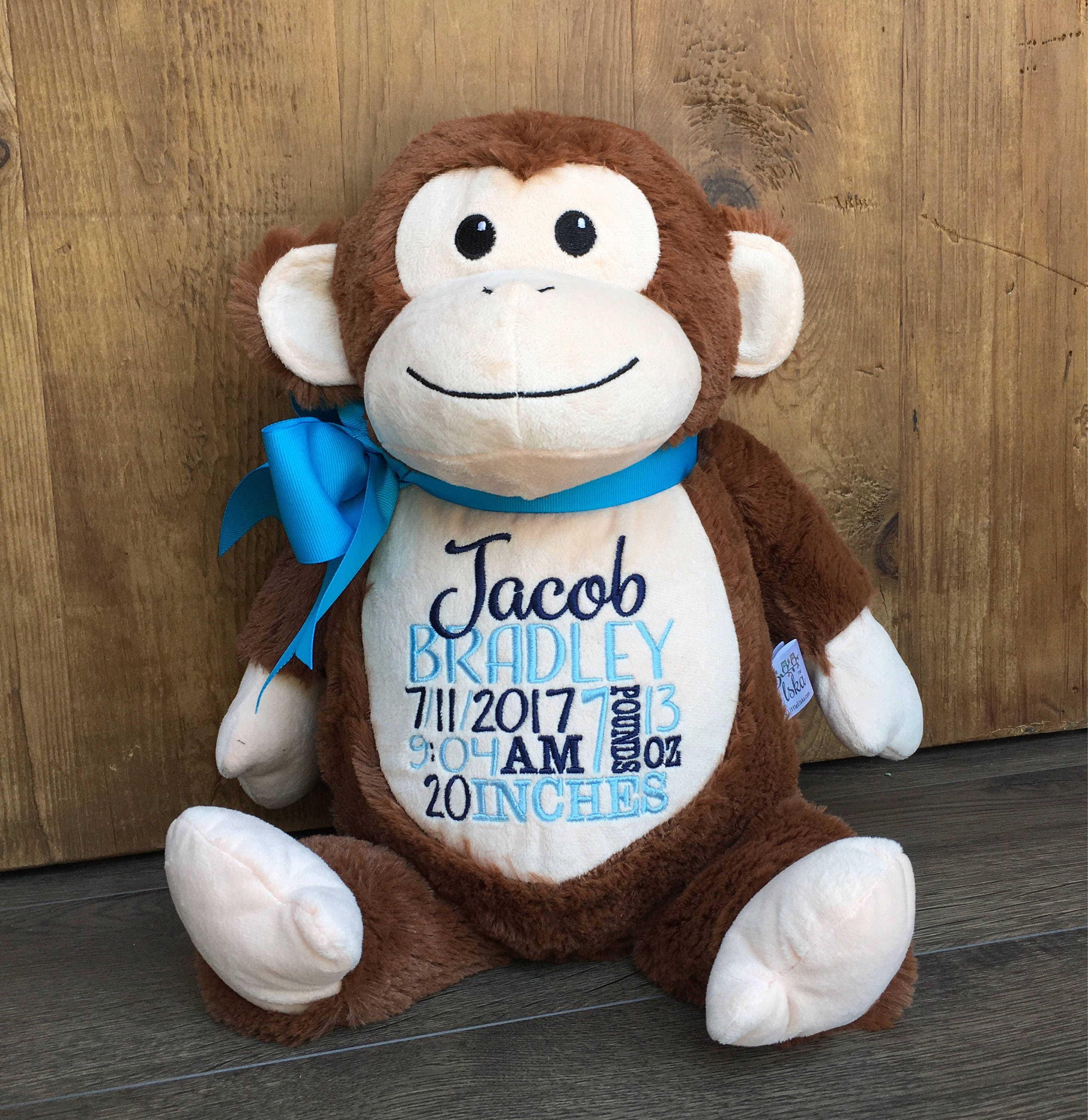 Personalized Baby Gift Birth Announcement Plush Soft Toy ...