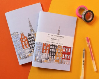 Amsterdam Notebook - Amsterdam Gift - A5 Recycled Notebook - Amsterdam Cityscape - Travel Gift - Sketchbook - Travel Journal