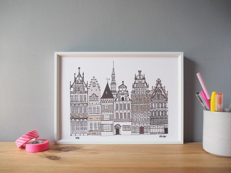 Antwerp Skyline Art Print A3 Print Antwerp Landmarks Etsy
