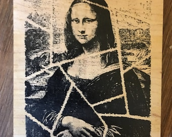 Mona Lisa Mosaic Collage Wood Mounted Rubber Stamp