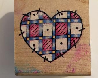 Vintage Rubber Stampede Heart Stamp