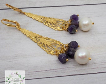 Cleopatra's Pearls and Amethyst Earrings - Real Pearl AAA Amethyst Earrings - Pearl - Pearls - Egypt - Egyptian - Cleopatra Earrings