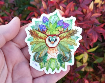 Owl Vinyl Decals Pack of 3 - Spirit of the Forest - Tumbler Sticker - Car Decal - Weatherproof - Laptop Sticker - Watercolor Decal Greenman
