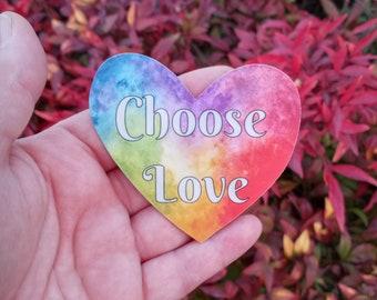 Choose Love Rainbow Vinyl Decals Set of 3- Weatherproof -  Watercolor Sticker - Art Sticker