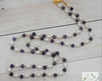 Cleopatra's Pearls and Amethyst  - Long Real Pearl AAA Amethyst Necklace - Pearl - Pearls - Egypt - Egyptian - Timeless - Cleopatra