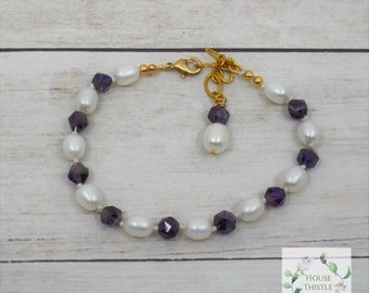 Cleopatra's Pearls and Amethyst - Real Pearl AAA Amethyst Bracelet - Pearl - Pearls - Egypt - Egyptian - Timeless - Cleopatra
