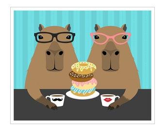 Treats the Unicorn Eating Donuts Print