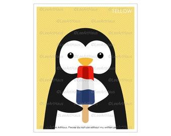 17A Penguin Print - Penguin Eating Red White Blue Popsicle Wall Art - Firecracker Popsicle Print - Dessert Wall Art - Penguin Art Prints