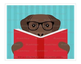 184D Chocolate Labrador Retriever Reading a Book Wall Art - Book Nursery Theme - Chocolate Lab Gifts - Peekaboo Dog - Dog Reading Book