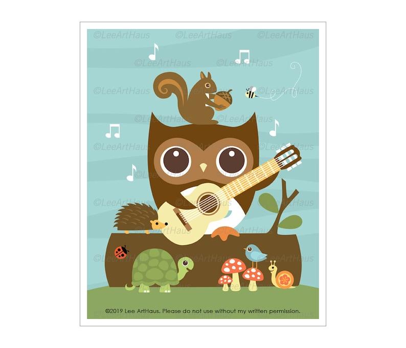 174A Owl Wall Art  Owl Guitar and Woodland Animals Wall Art  image 0