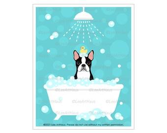 365D Dog Bath Decor - Boston Terrier Under Shower in Bathtub Wall Art - Dog Spa Poster - Boston Terrier Decor - Boston Terrier Gifts