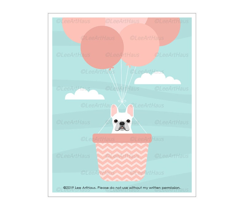 831D Dog Nursery Art  White French Bulldog in Pink Hot Air image 0