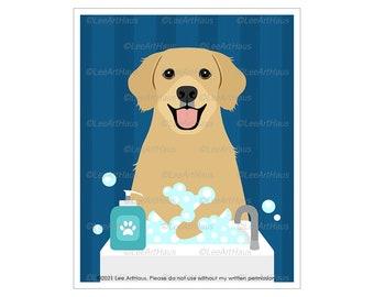 206D Golden Retriever Art - Golden Retriever Washing Hands in Sink Wall Art - Golden Retriever Mom - Dog Bathroom Art - Wash Your Paws