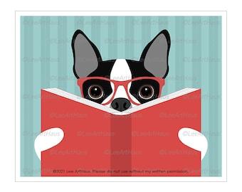 182D Reading Art - Boston Terrier Reading a Book Wall Art - Boston Terrier Decor - Boston Terrier Art - Dog Reading Book - Book Themed Decor