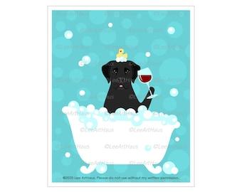 144D Black Labrador Retriever Dog Drinking Wine in Bubble Bath Wall Art - Black Lab Dog - Dog Bath Decor - Black Lab Gifts - Dog Bath Art