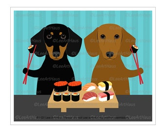 186D Two Dachshund Dogs Eating Sushi Wall Art - Dachshund Art - Dachshund Gift - Dachshund Mom - Sushi Art - Kitchen Decor - Sushi Lover