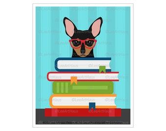 369D Reading Art - Min Pin Reading Stack of Books Wall Art - Miniature Pinscher Decor - Min Pin Gift - Book Decor - Dog Art - Min Pin Art