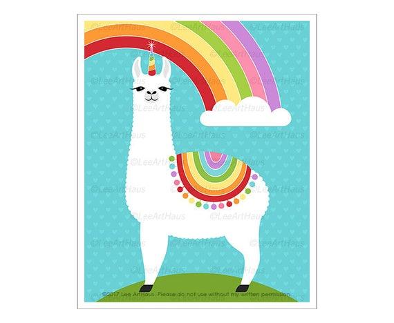 65j Rainbow Decor Llamacorn Rainbow Wall Art Rainbow Art Etsy