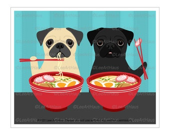 295D Pug Decor - Two Pugs Eating Ramen Wall Art - Pug Gift - Ramen Art Print - Funny Kitchen Art - Pug Lover Gifts - Dog Gifts for Owners