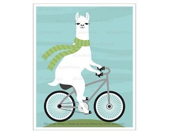 71J - Bicycle Art Prints - Llama Riding Bicycle Wall Art - Bicycle Drawing - Bicycle Decor - Animal Riding Bike Print - White Llama Print