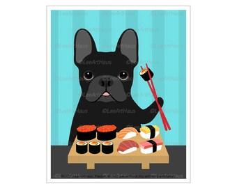 288D Sushi and Dog - Black French Bulldog Eating Sushi Wall Art - Sushi Art - Sushi Animals - French Bulldog Decor - Frenchie Mom - Dog Art