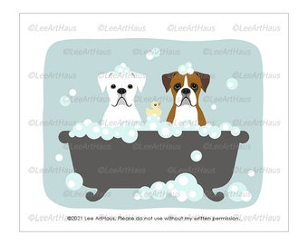 207D Boxer Dog Gifts - Two Boxer Dogs in Bubble Bath Wall Art - White Boxer Dog - Boxer Dog Mom - Dog Bathroom Art - Bath Dog - Dog Art